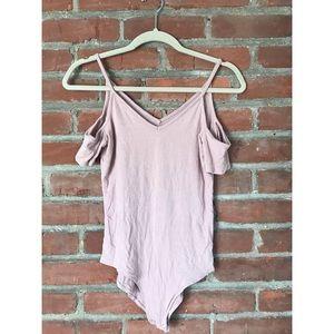 Soft Pink off the shoulder bodysuit.